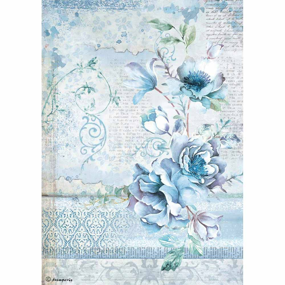 stamperia-rice-paper-a4-blue-land-flower-dfsa4337